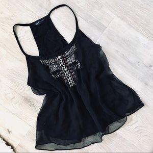 American Eagle Outfitters Black Tribal Print Tank
